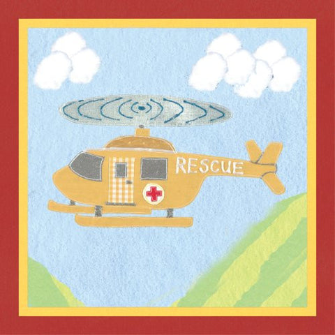 Art 4 Kids Rescue Helicopter Mounted Art Print, 12x12