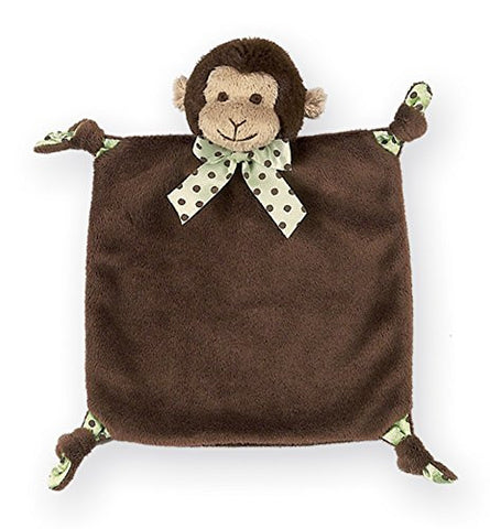 Bearington Baby Wee Giggles Small Plush Monkey Security Blanky, Lovey 9 x 8