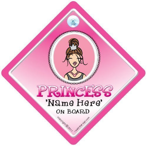 BABY iwantthatsignLTD Princess On Board, Contemporary, Princess Car Sign, Personalised Princess Car Sign, Add A Name Personalised Car Sign, Bumper Sticker, Baby Car Sign