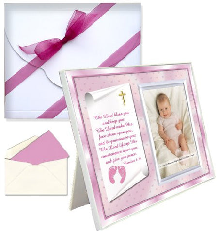 Baptism Christening Gifts Baby Blessing Picture Frame -- Numbers 6:24-26 - Girl