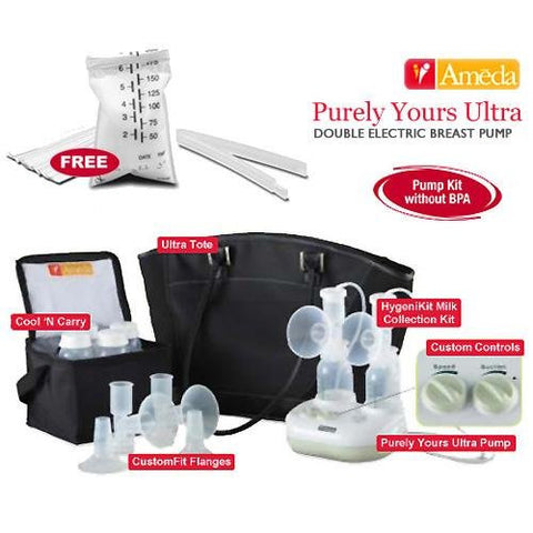 Ameda 17085KIT4 Combo 4 Purely Yours Ultra Breast Pump With Free Ameda Milk Storage Bags - 20 ct box