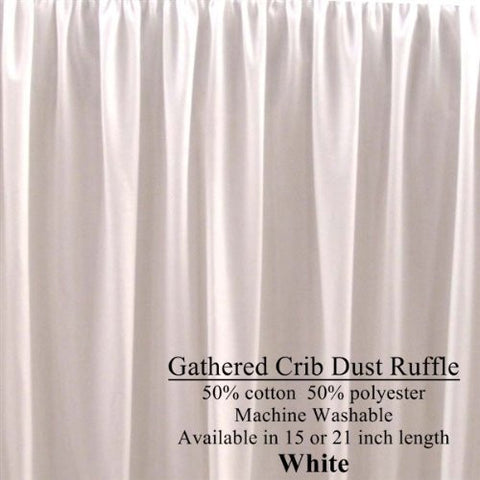 21 inch long WHITE Cribskirt Gathered Crib Dust Ruffle
