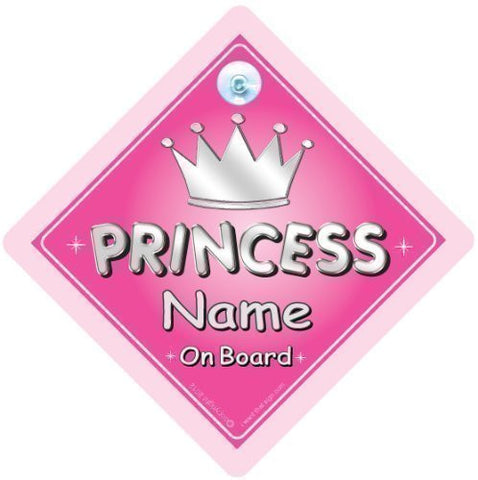 BABY iwantthatsign.com Princess On Board, Personalised Car Sign, Silver Text, Custom Baby On Board Sign