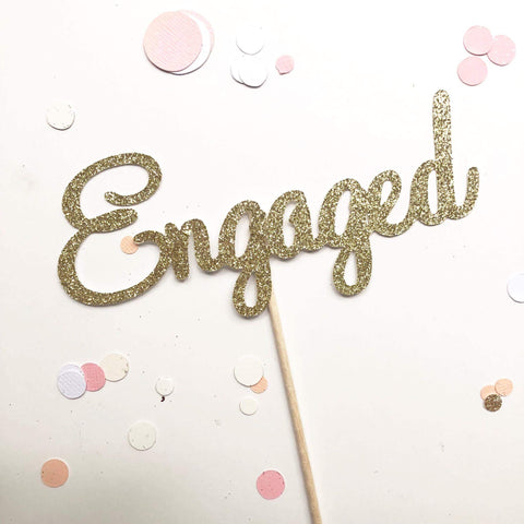 Glitter Cake Topper Engaged Gold