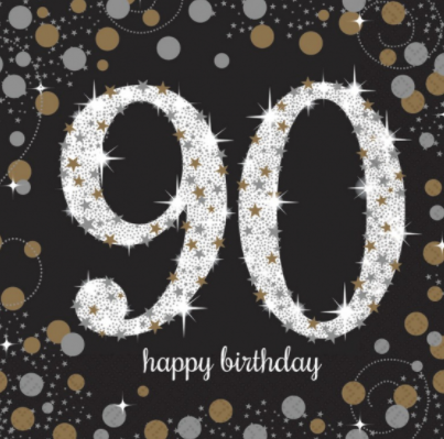 Napkins 90th Black/Gold Sparkling Celebration