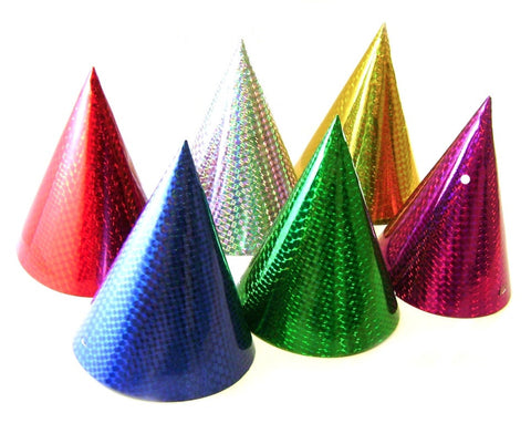 Cone Party Hats Laser Assorted Colours