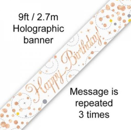 Banner Sparkling Fizz Rose Gold Happy Birthday