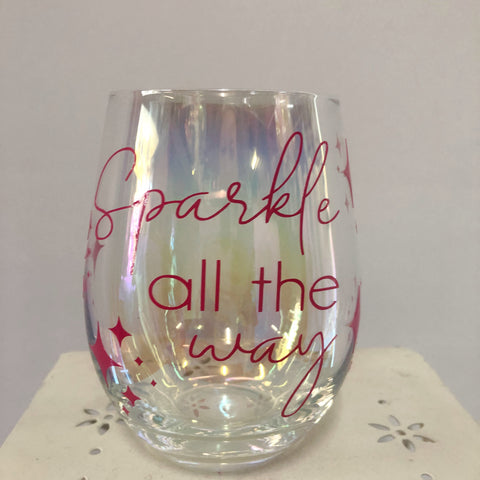 Customised Iridescent Stemless Wine Glass