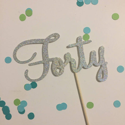 Glitter Cake Topper Forty Silver