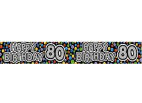 Foil Banner 80th Birthday Rainbow