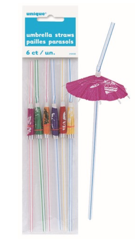 Umbrella Luau Straws