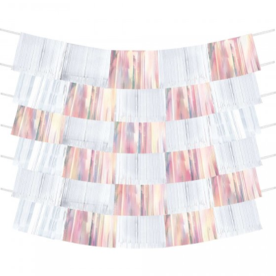 Shimmer Fringe Backdrop White / Iridescent