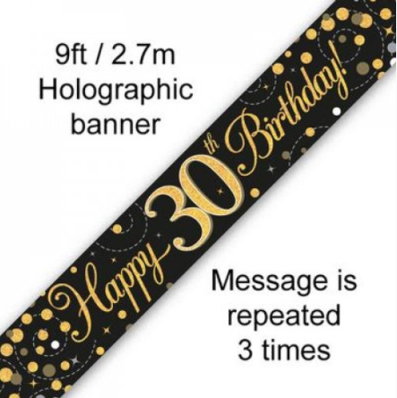 Banner Sparkling Fizz Black/Gold 30th
