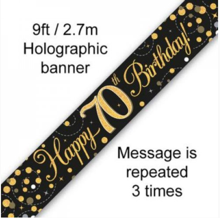 Banner Sparkling Fizz Black/Gold 70th