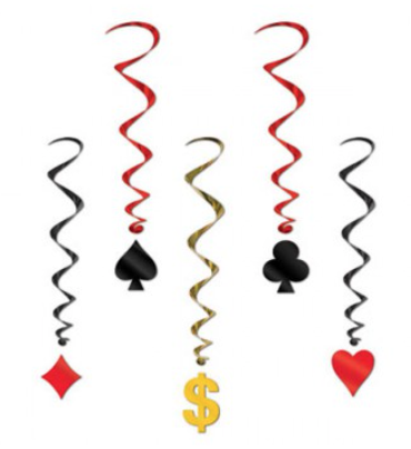 Hanging Whirls Card Suits & Dollar Sign