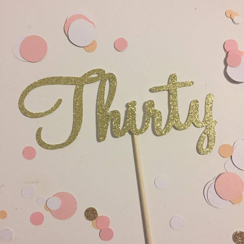 Glitter Cake Topper Thirty Gold
