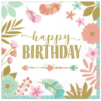 Napkins Boho Happy Birthday Floral