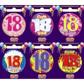 18th Birthday Badge Assorted Designs