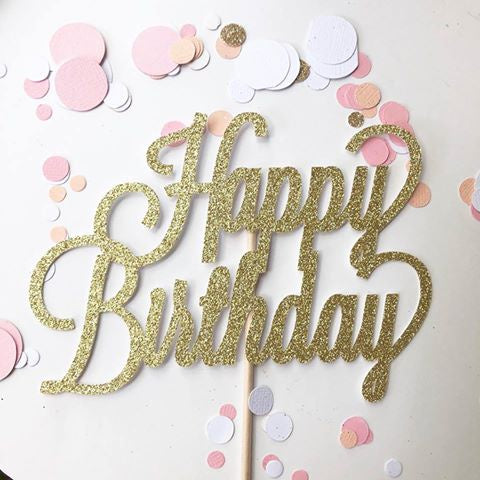 Glitter Cake Topper Happy Birthday Gold