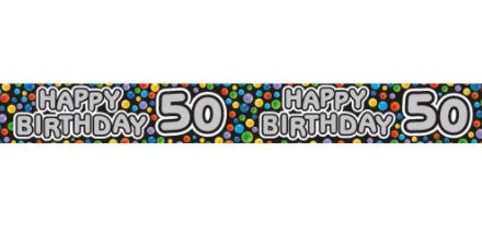 Foil Banner Happy 50th Rainbow
