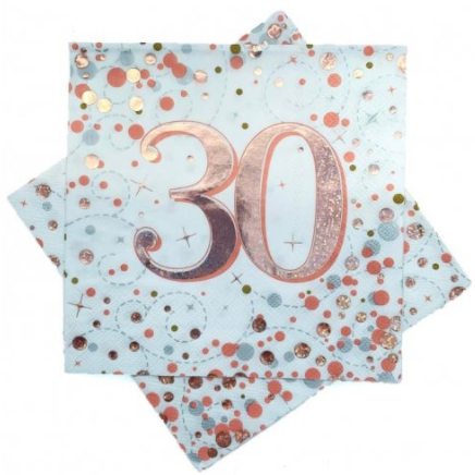 Napkins 30th Rose Gold Sparkling Fizz