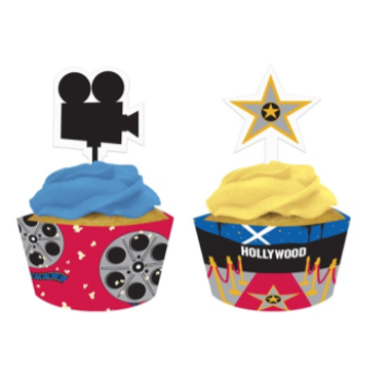 Hollywood Cupcake Wraps with Toppers