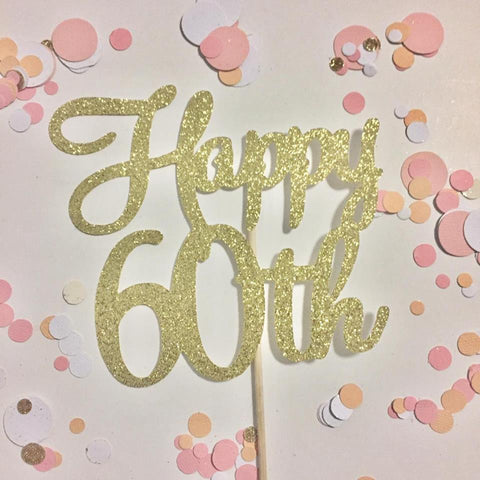 Glitter Cake Topper Happy 60th Gold