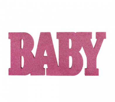 Baby Sign Wood Glitter Pink