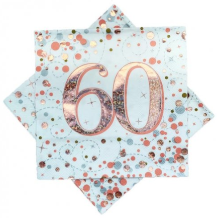 Napkins 60th Rose Gold Sparkling Fizz