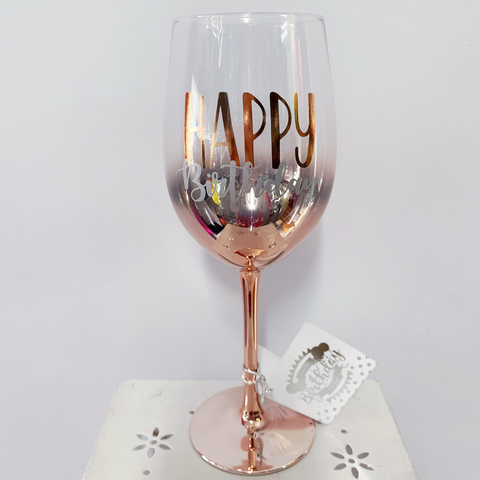 Wine Glass Rose Gold Happy Birthday