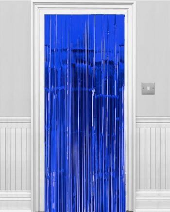 Metallic Door Curtain Blue