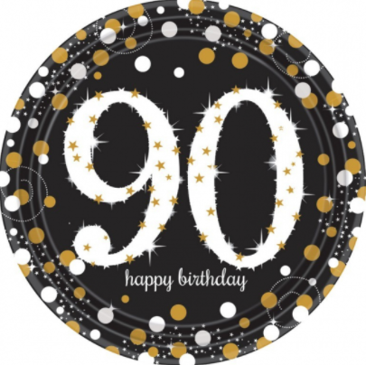 Plates 90th Birthday Black/Gold Sparkling Celebration