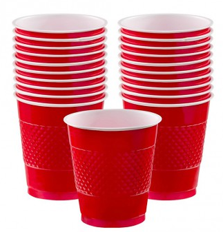 Plastic Cup Extra Large Red 355ml