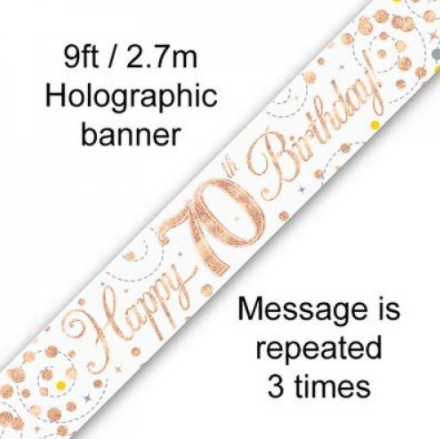 Banner Sparkling Fizz Rose Gold 70th