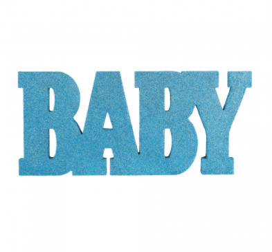 Baby Sign Wood Glitter Blue