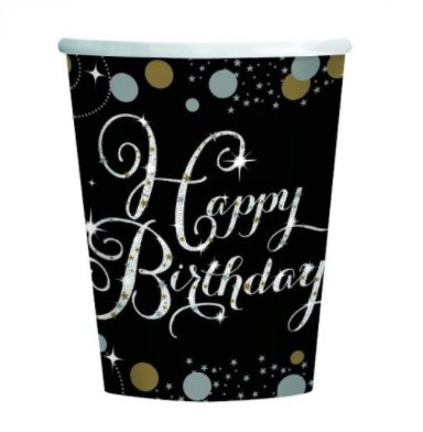 Cups Happy Birthday Black/Gold Sparkling Celebration