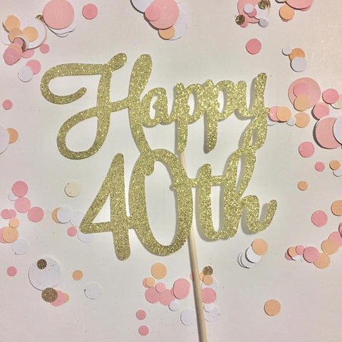 Glitter Cake Topper Happy 40th Gold