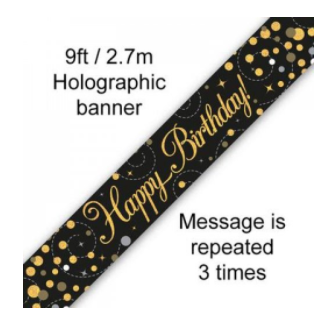 Banner Sparkling Fizz Black/Gold Happy Birthday