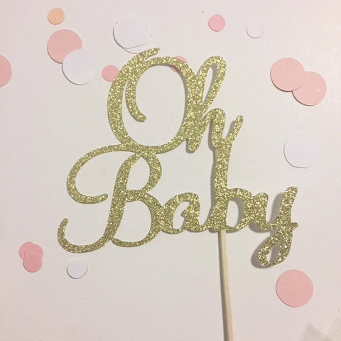 Glitter Cake Topper Oh Baby Gold