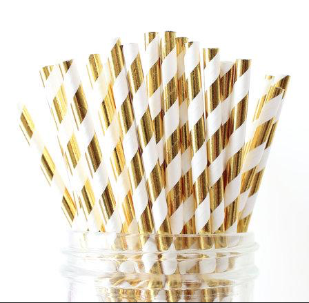 Gold Foiled Striped Paper Straws - Pack of 25