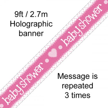 Foil Banner Baby Shower Pink Hearts