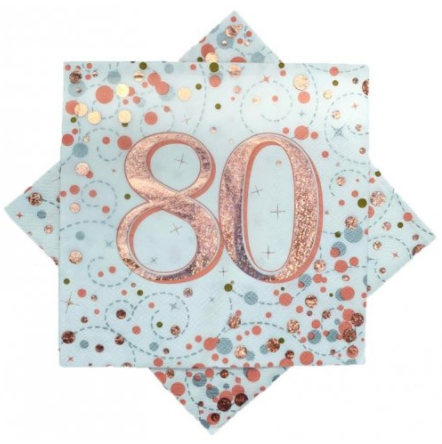 Napkins 80th Rose Gold Sparkling Fizz