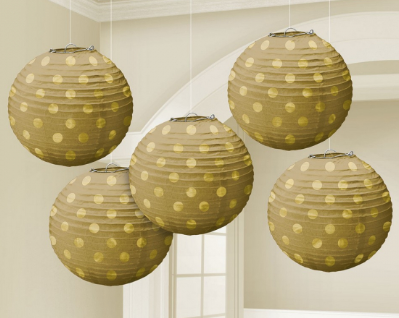 Paper/ Foiled Lanterns Gold