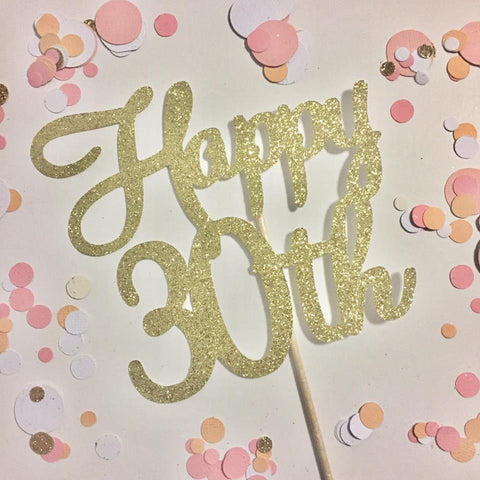 Glitter Cake Topper Happy 30th Gold
