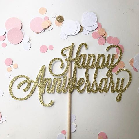 Glitter Cake Topper Happy Anniversary Gold