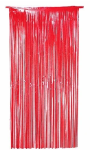 Metallic Foil Curtain Red.