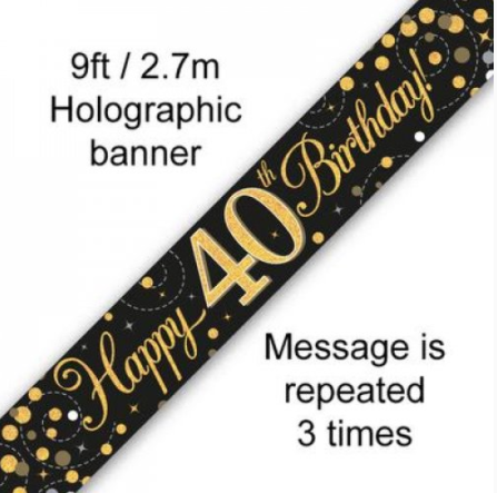 Banner Sparkling Fizz Black/Gold 40th