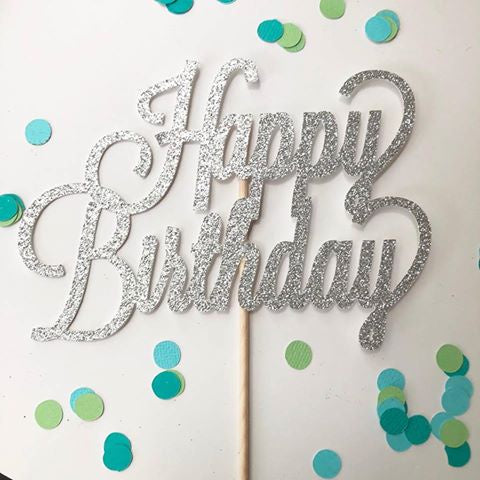 Glitter Cake Topper Happy Birthday Silver