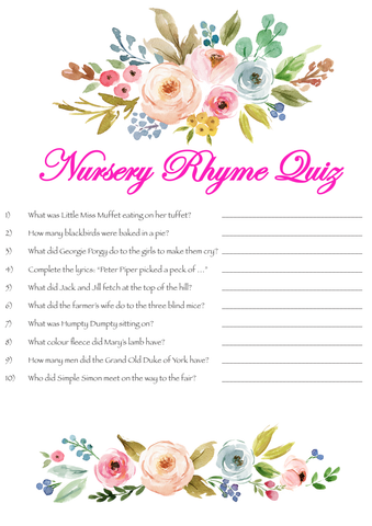 Game Baby Shower Nursery Rhyme Quiz Pk8