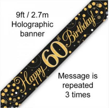 Banner Sparkling Fizz Black/Gold 60th
